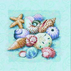 Shells on Blue - Dimensions counted cross stitch kit