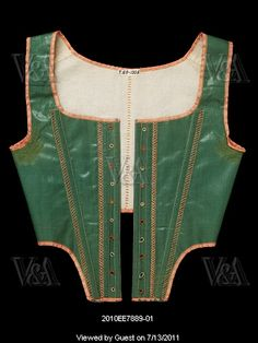 Jumps. Cotton with twill tape, silk thread and whalebone. Britain, c.1790-95