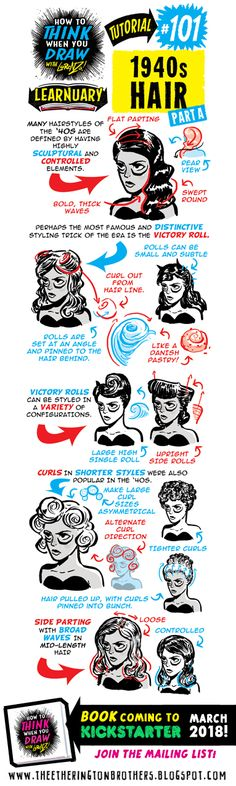 The Etherington Brothers: How to THINK when you draw 1940s HAIR tutorial #LEARNUARY day THREE (part two)