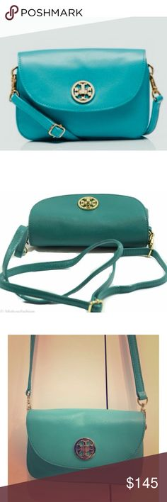 "Tory Burch Robinson Teal Crossbody Bag Gorgeous teal colored bag is perfect for shopping, traveling, day tripping or special occasion.  Authentic.  7.5""L x 4.75""H x 1.5""W Tory Burch Bags Crossbody Bags"