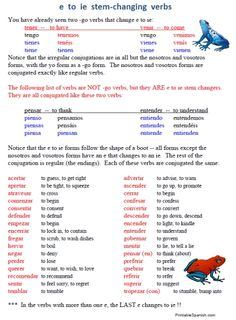 FREE 12-page worksheet packet on #Spanish stem-changing verbs -- easy to download on PrintableSpanish.com