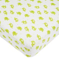 "Babies R Us Elephant Dot Knit Crib Sheet - Green/White - Babies R Us - Babies ""R"" Us"