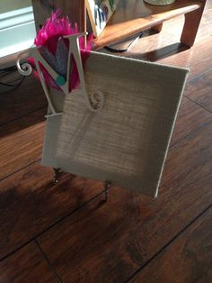 burlap initial frame made this for my sister to hang her cosmetology license