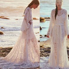 Lace Beach Plus Size Wedding Dresses Long Sleeves Boho 2016 Vintage White Bohemian High Neck Neckline Sheer Bridal Dresses Arabic