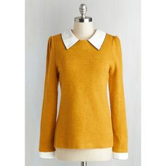 Vintage Inspired, Scholastic Mid-length Long Sleeve Wine Appreciation... ($60) via Polyvore featuring tops, sweaters, shirts, longsleeve shirt, yellow long sleeve shirt, sports shirts, long sleeve sweaters and keyhole shirt