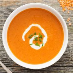 Cook With Campbell's - Red Pepper and Red Lentil Soup Souper Bowl, Soup Recipes, Cooking Recipes, Pureed Soup, Red Lentil Soup, Red Peppers, Freezer Meals, Soup And Salad, Soups And Stews
