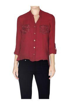 Long Sleeve Lace Back Blouse W/ Back Button Detail