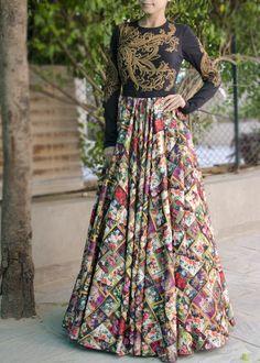 Multicolor Satin Indo Western Dress