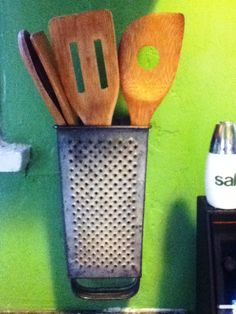 Kitchen Utensil Holder From Vintage Cheese Grater (like this idea with several on the wall for grouping like with like)