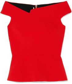 Roland Mouret Elmswell Off-the-shoulder Crepe Top - Red Shimmer Body Oil, Crepe Top, Roland Mouret, Dresses For Work, Casual Dresses, Off The Shoulder, How To Wear, Passion, Winter