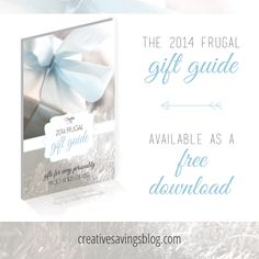 This simple, yet powerful eBook, solves all of your biggest gift-giving dilemmas, making it super easy to find that perfect gift. It`s your one-stop-shop for amazing, heartfelt, and budget-friendly ideas your friends and family will love! The 2014 Frugal Gift Guide is available as a FREE download.