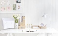 Craft storage boxes, minimal stationery and desk accessories - that's our idea of the perfect stylish workspace. Bureau Design, Home Office Organization, Office Decor, Craft Storage Box, Storage Boxes, Desk Inspiration, Desk Inspo, Pretty Bedroom, Desk Set