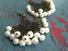 Pearl Fan Earrings $138