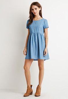 (Chambray Babydoll Dress | Forever 21 - 2000131330) This outfit is so adorable!!!