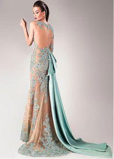 Glamorous Tulle & Taffeta Bateau Neckline Sheath Evening Dresses With Beaded Lace Appliques