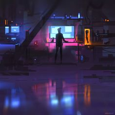 "edgertttechnology:  ""Dream studio I quickly painted. (x-post r/cyberpunk)  """