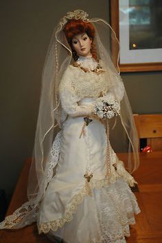 The Gibson Girl Anniversary Heirloom Bride Doll* FRANKLIN MINT HEIRLOOM BRIDE DOLLS 22""