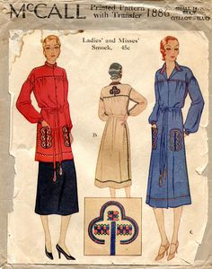 1930's embroidered smock dress and tunic pattern