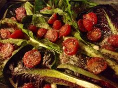 Roasted radicchio with cherry tomatoes and Parmesan Cheese. Easy and delicious. Vegetable Dishes, Cherry Tomatoes, Parmesan, Sprouts, Roast, Cheese, Vegetables, Food, Meal