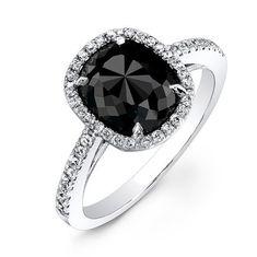 14k White Gold 2 1/4Ct Black Diamond Engagement Ring on Etsy, $1,655.00