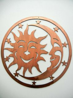 Sun Moon Stars Small Metal Artsy Sign by Steelhouettes on Etsy, $91.00