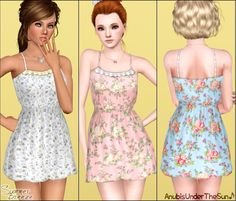 My Sims 3 Blog: Summer Breeze Collection ~ Dress+Necklace+Flats for Teen-to-Adults by Anubis360