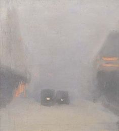 Clarice Beckett (Australie, 1887-1935) –  Passing Trams (1931) Art Gallery of South Australia, Adelaide
