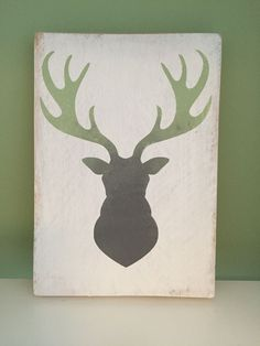 Deer Head Wooden Sign Plaque Shabby Chic Art Present Gift | eBay