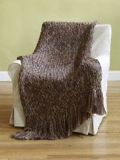 Free knitting pattern for 6 Hour Afghan. This afghan pattern by Lion Brand is fast because it uses 4 strands of yarn knit together on size 50 (25mm) needles. The four strands gives you an opportunity to really play with color.