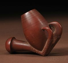 Eastern Sioux catlinite pipe bowl, 19th century.