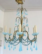 inexpensive chandelier and paint the crystals??