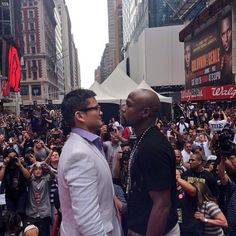 @chinomaidana face-off with @floydmayweather at Times Square. They fight Sep 13 at the MGM Grand in Las Vegas.