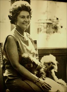 Frederika, Queen of the Hellenes (Greece) with poodles