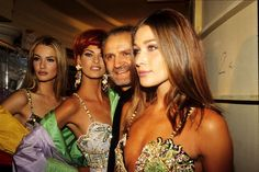 Karen Mulder, Linda Evangelista, Carla Bruni and Gianni Versace, the Versace fashion show held at the Ritz in January 1992