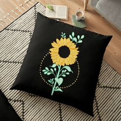 'Sunflower ' Floor Pillow by pixelpixelpixel Planting Sunflowers, Floor Pillows, My Arts, Art Prints, Printed, Awesome, Artist, Shop, Stuff To Buy