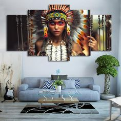 5 Panel Print Decor, Indian American Girl Canvas Set, Beautiful Feather Girl Wall Art, Native American Wall Prints, Gift for Home Decoration by ArtCubby on Etsy American Indian Girl, Native American Decor, Native American Girls, Indian Girls, Feather Painting, Painting Of Girl, Spray Painting, Painting Art, Tribal Warrior