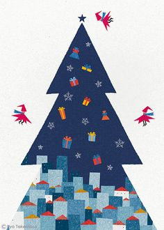 Christmas tree illustration by Ryo Takemasa Merry Christmas, Christmas Poster, Winter Christmas, Vintage Christmas, Christmas Time, Christmas Crafts, Winter Illustration, Tree Illustration, Christmas Illustration