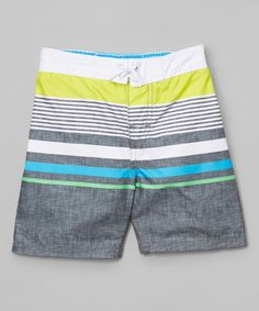 This OshKosh B'gosh Gray & Yellow Stripe Boardshorts - Infant, Toddler & Boys by OshKosh B'gosh is perfect! #zulilyfinds