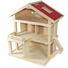 Freda Villa - Maison de poupées - Villa résidentielle - en bois - 3 étages - poignée - Dimensions 46 x 35 x 58 cm (larg. x profond. x haut.)...