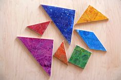 Rainbow Colors Organic Maple Tangram puzzle Wooden Natural Puzzle Fun For All Ages