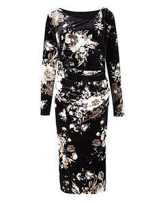 Printed Velour Side Tuck Dress | J D Williams