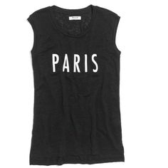 MADEWELL Linen Paris Stencil Muscle Tee ($45) ❤ liked on Polyvore featuring tops, shirts, tank tops, tanks, true black, graphic tank, linen tank top, graphic shirts, drapey shirt and graphic design shirts