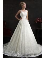 A-linie Rund-neck Glamoures Hochzeitskleid aus Spitze Maritza