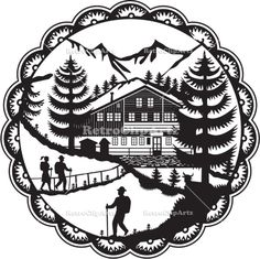 Swiss Chalet Alpine Hiker Decoupage Vector Stock Illustration. Swiss decoupage style illustration of a Swiss Chalet nestled in the foot of the Alps with Alpine trees and hikers set inside rosette done in black and white. #illustration #SwissChaletAlpine