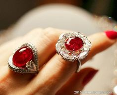 FaiDee. How magnificent is the colour of these rare unheated Burmese rubies of the ruby and diamond rings by FaiDee @faideegems . The left one is a cabochon of 14 cts, the right one is an oval cut of 8cts.  #broughttoyoubykaterinaperez #faideeonkaterinaperezcom #highjewellery
