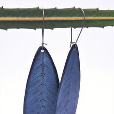 Recycled Vinyl Record Earrings Blue Leaf Pasifika by ReplayStudio