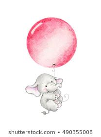 Cute elephant flying on red balloon Baby Elephant Nursery, Elephant Party, Elephant Love, Cute Elephant Drawing, Baby Drawing, Elephant Illustration, Cute Illustration, Scrapbooking Image, Childhood Images