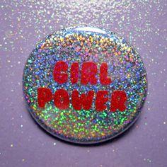 Holographic glitter Girl Power 90s feminist pin back button- feminism button- feminist pin- rainbow hologram