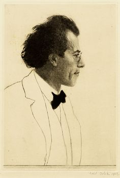 "Emil Orlik, ""Portrait of Gustav Mahler"", Etching with drypoint & aquatint, Romantic Composers, Classical Music Composers, Gustav Mahler, Spanish Art, Portraits, Great Artists, Orchestra, Les Oeuvres, Printmaking"