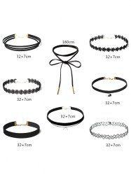 Layered Choker Necklaces Set - BLACK